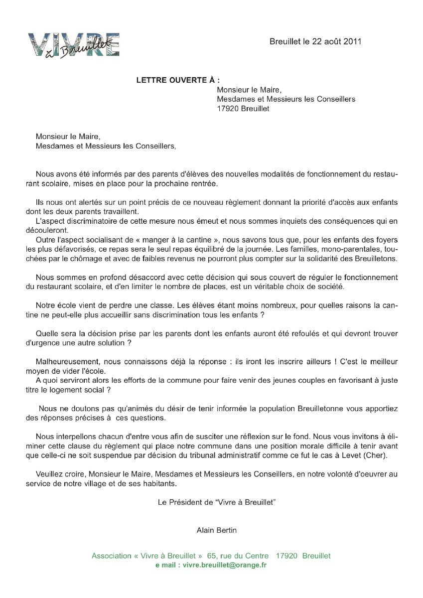 Lettre De Motivation Mairie Cantine Ecole
